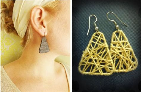 How To Make Paper Clip Earrings - paper clip and yarn wrapped earrings tutorials the