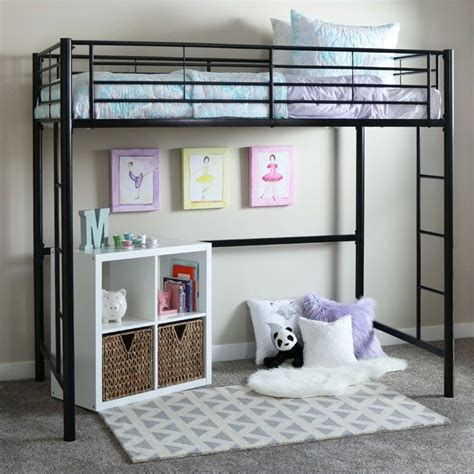 twin metal loft bed walker edison sunset metal twin loft bunk bed in black