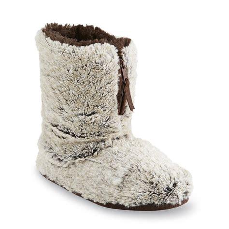 slipper booties womens dearfoams women s brown bootie slipper sears