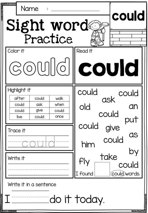 sight words brighter child free sight word practice these sight word practice pages are perfect for kindergarten and first
