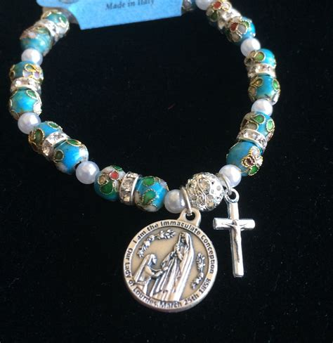 lourdes water healing medal bracelet with exquisite
