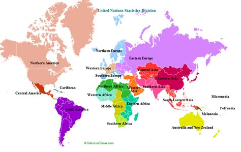continent map with country names countries by continents statisticstimes