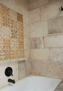 Shower walls and decorative carved tiles mediterranean bathroom tile