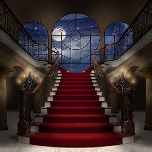 Formal Garden Design - palace staircase with marble floor photo backdrops and backgrounds
