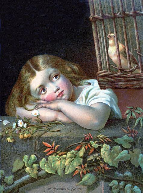 antique clip art pretty girl  canary  cage