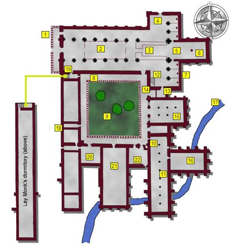 monastery floor plan layout of an abbey 1 narthex 2 nave 3 choir 4 transepts