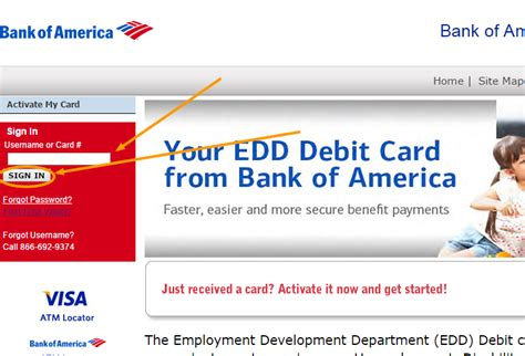 bank of america login in bank of america edd card www bankofamerica eddcard