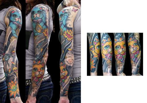 japanese maneki neko sleeve tattoo by darwin enriquez