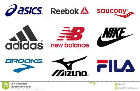 athletic shoe company logos running shoes producers logos editorial image