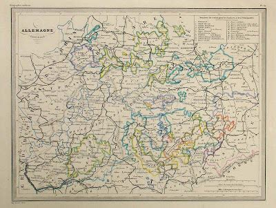 Карта центральной Германии,19 век | Туристические карты