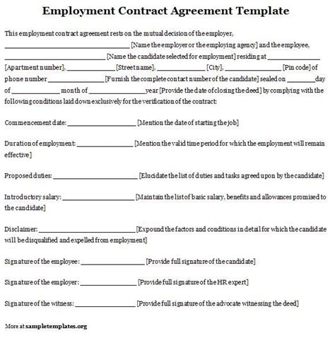 Employment Contract Agreement Template Sle Contracts Pinterest Employment Agreement California Template