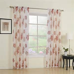 Printed Sheer Curtains Two Panels Flower Print Sheer Curtain Usd 49 99