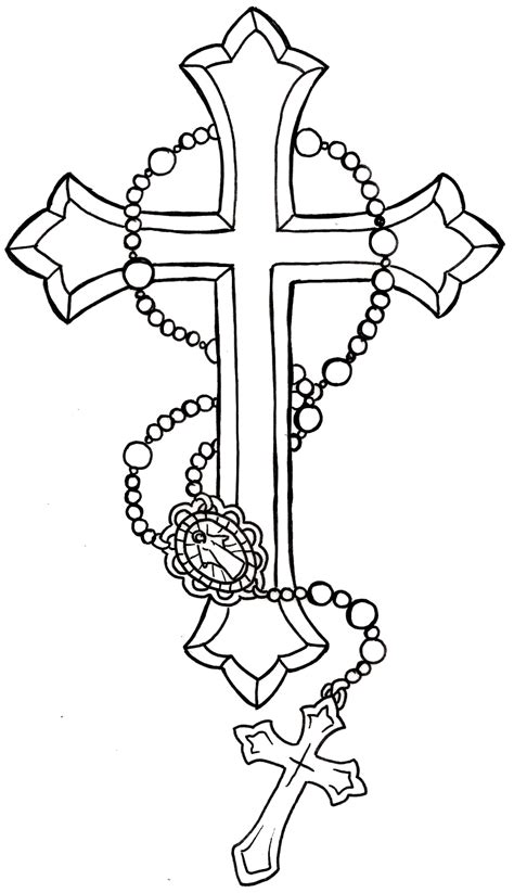 cross tattoo lines cross with rosary tattoo by metacharis on deviantart