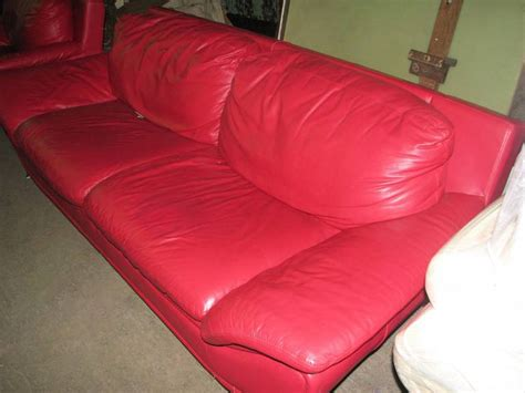 red leather sofa and chair red leather retro sofa and chair set for sale at 1stdibs