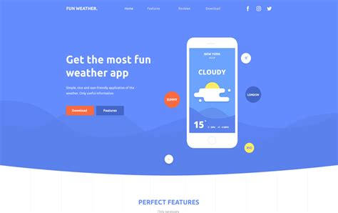 bootstrap weather template weather apps landing page free bootstrap template