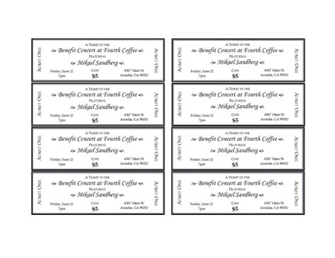 Event Tickets Free Printable Event Ticket Template