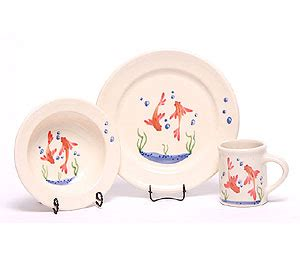 Set Golfish Kid baby dish set goldfish usa made by emerson creek pottery