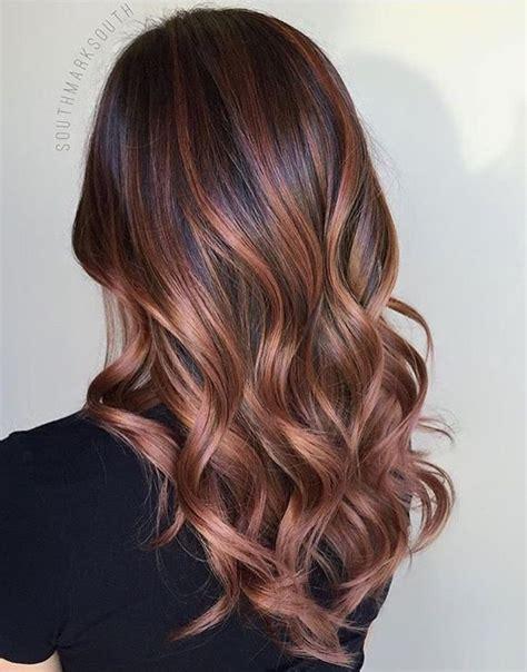 brunette rose gold hair rose gold balayage brunette hair cuts pinterest