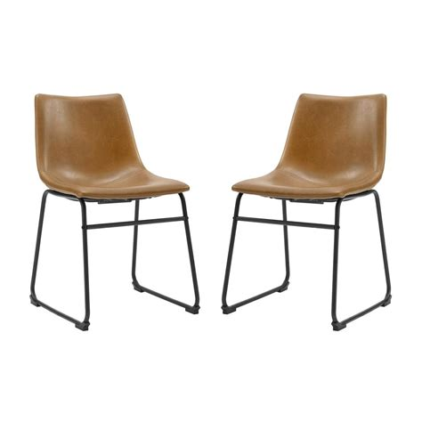 18 dining chairs 18 quot industrial faux leather dining chair set of 2