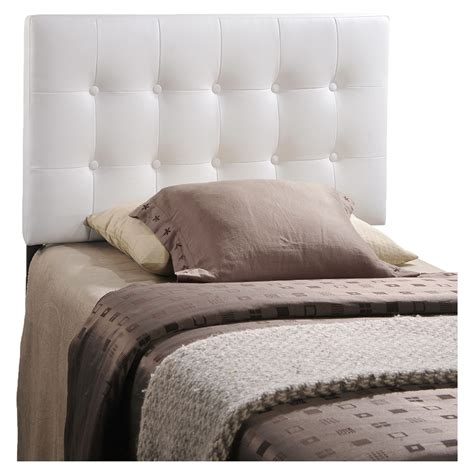 twin tufted headboard emily twin leatherette headboard button tufted white