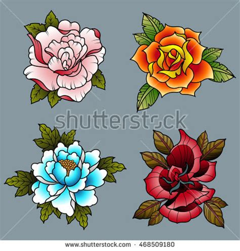 traditional tattoo flowers flash www pixshark com
