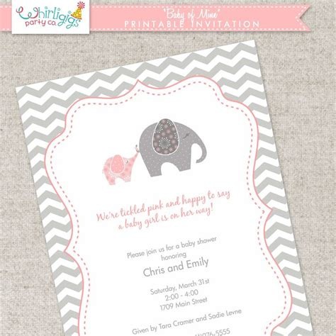 printable invitations with envelopes elephant baby shower invitation printable digital file
