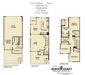 3 Story Townhouse Floor Plans Level Fifteen Floor Plan 2 North County New Homes