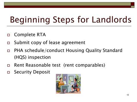 section 8 security deposit ppt section 8 housing choice voucher program landlord