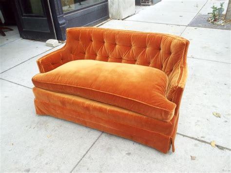 vintage orange velvet sofa antique orange velvet henredon brand loveseat