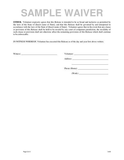 Waiver Release Letter Sle Waiver Form Free Printable Documents