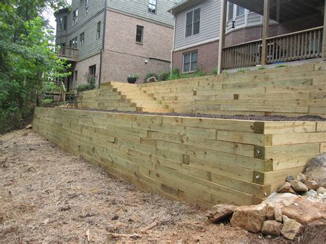 used 6x6 wood retaining wall farmhouse design and
