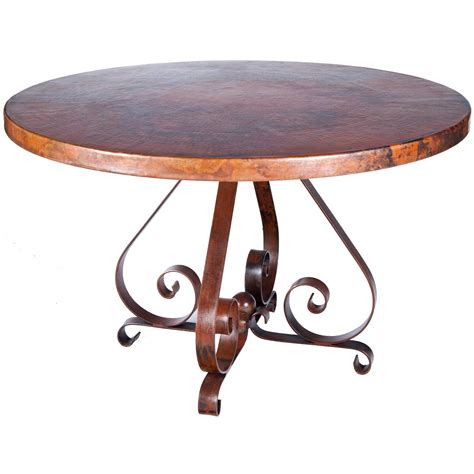 round copper table top pierre iron dining table with 54 quot round hammered copper top