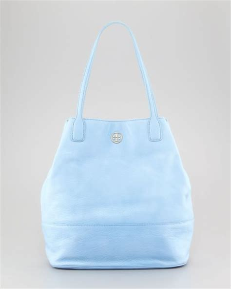 burch light blue bag burch pebbled leather tote bag light blue in