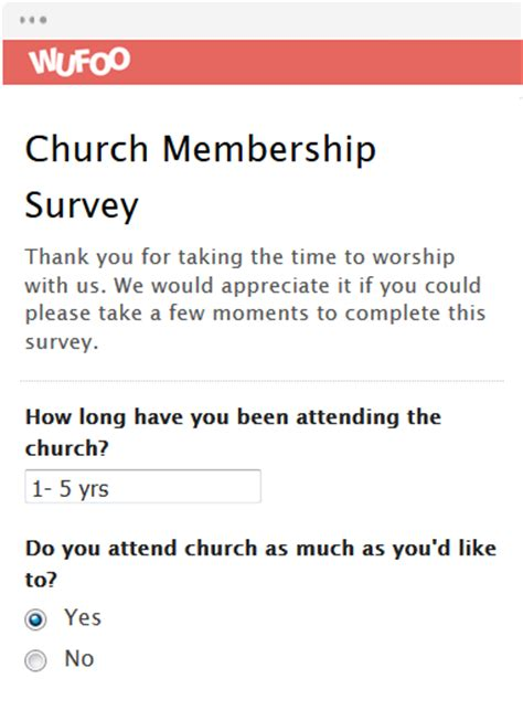 Survey Form Templates Wufoo Membership Surveys Templates