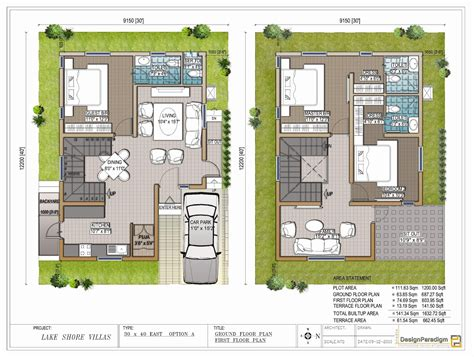 30x40 House Floor Plans by Lake Shore Villas Designer Duplex Villas For Sale In