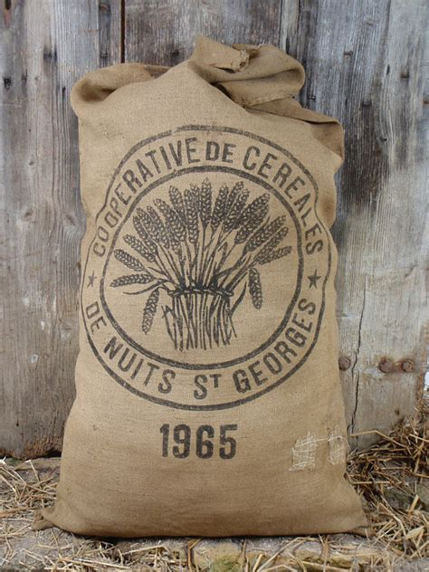Burlap grain sack flour bag vintage french rustic and