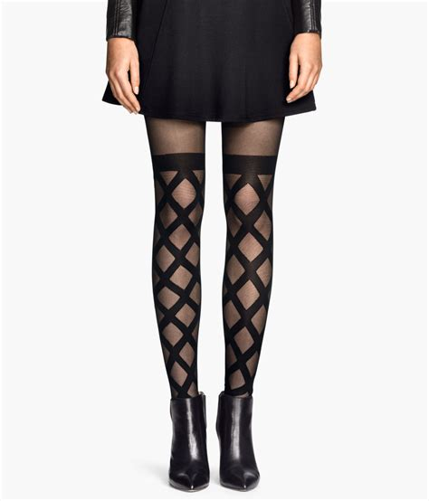 patterned tights m s h m patterned tights in black lyst
