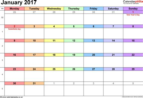Calendar Template 2017 Weekly January 2017 Calendar Weekly Calendar Template