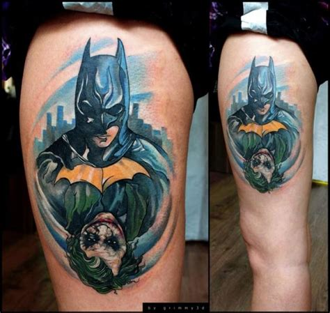 tattoo joker 3d fantasy batman joker thigh tattoo by grimmy 3d tattoo