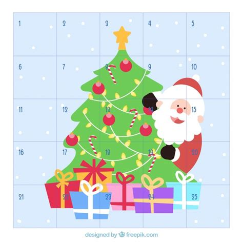 printable santa claus advent calendar advent calendar with santa claus behind the christmas tree