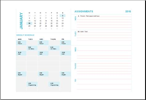 student assignment planner template student assignment planner ms excel editable template