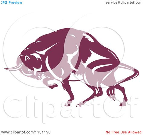 clipart of a retro woodcut clipart of a retro woodcut charging european bison