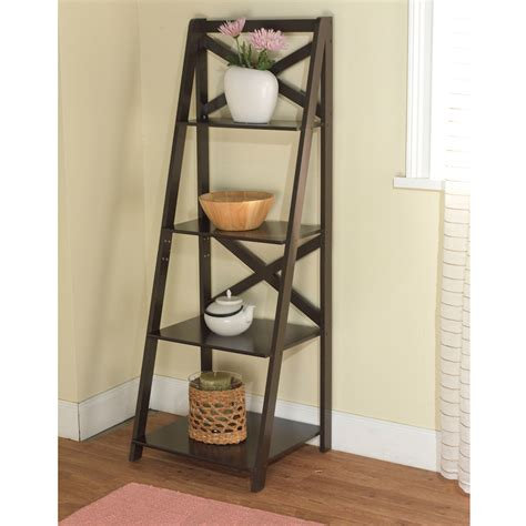 leaning ladder 5 shelf bookcase espresso mainstays leaning ladder 5 shelf bookcase espresso walmart shelves