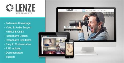 lenze portfolio photography html template by pophonic