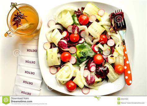 Food Detox Period Animal by Detox Diet With Vegan Salad And Herbal Tea Royalty Free