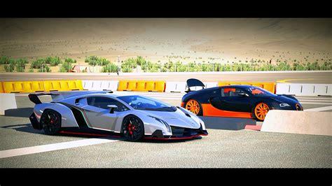 Lamborghini Bugatti Race Lamborghini Veneno Vs Bugatti Veyron Race Www Pixshark