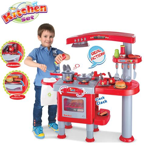 boys blue kitchen cooking play set playset learn