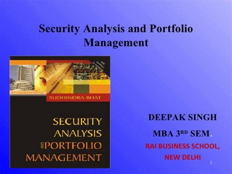 Security Analysis And Portfolio Management Ppt For Mba by Security And Port Folio Management