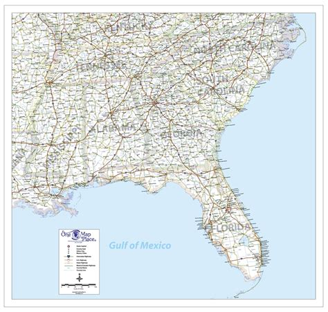 map of se us cities one map place s e united states