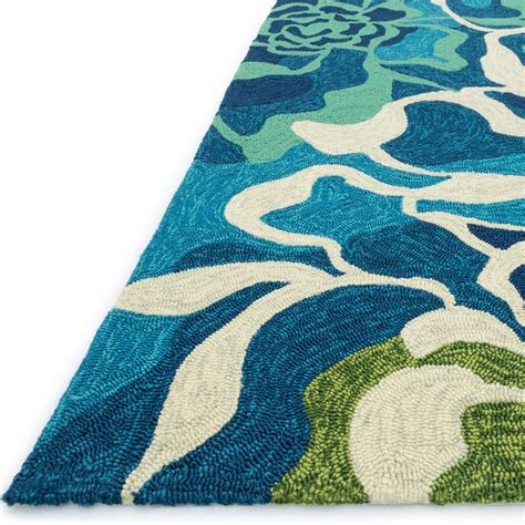 Shop Ventura Floral Wave Aqua Outdoor Rug 7ft 10in Round Aqua Outdoor Rug